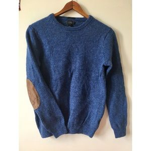 J. Crew Men's slim blue wool sweater Elbow Patches